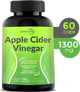 Apple Cider Vinegar Capsules 1300mg - Tasteless Natural Weight Loss Apple Cider Vinegar Pills - Organic ACV Pills - Cleanse Detox Tablets - 100% Pure Vegetable ACV Capsules - Non-GMO - Made in USA