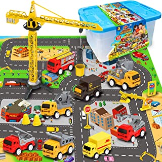 """Exercise N Play Mini Fire Fighting Truck Transport Delivery Truck Construction Vehicle Play Set with a Kid Play Car City Map (28"""" x 31""""), Engineering Vehicle Toy Play Cars for Kids, Boys or Girls"""