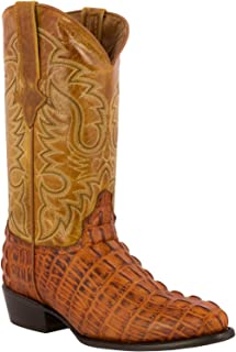 Team West - Men's Cognac Crocodile Design Leather Cowboy Boots Round Toe 9.5 2E US