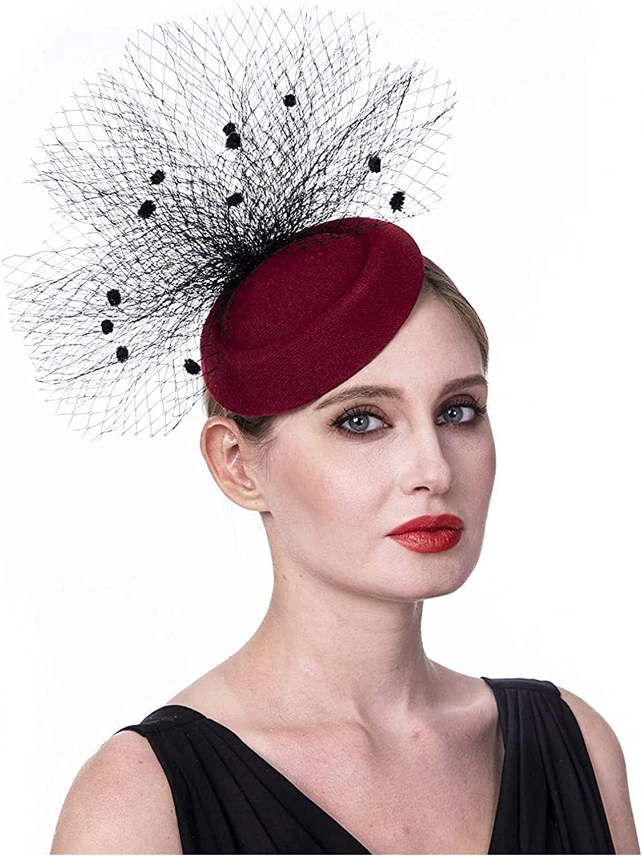 LOVESOO Fascinators Hat for Women Tea Party Headband Kentucky Derby Wedding Flower Cocktail Mesh Feathers Hair Clips