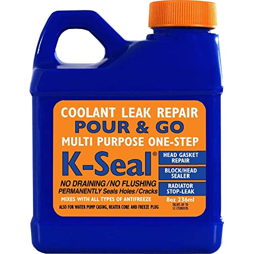 K-SEAL Coolant Leak Repair, ST5501 8oz, Multi-Purpose Formula Stops Leaks in the Radiator, Head Gasket, Block, Water Pump Casing, Heater Core, and Freeze Plug - Pour and Go - Trade Trusted-Stop Leak