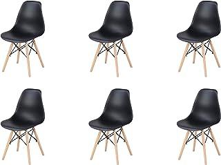 N/A Lot de 4/6 chaises, design minimaliste élégant, en plastique, pieds en bois, convient pour salle à manger, chambre à c...