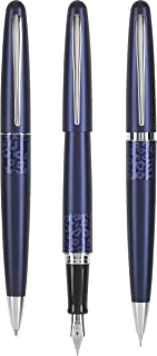 PILOT MR Animal Collection Fine Nib Fountain Pen, Medium Point Ball Point Pen & Extra Fine Mechanical Pencil Set in Gift Box, Matte Plum Barrel with Leopard Accent, Refillable Black Ink (91241)