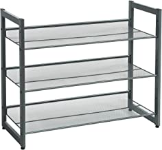 SONGMICS 3-Tier Shoe Rack Storage, Metal Mesh, Flat or Angled Stackable Shoe Shelf Stand for 9 to 12 Pairs of Shoes, Cool Gray ULMR03GB