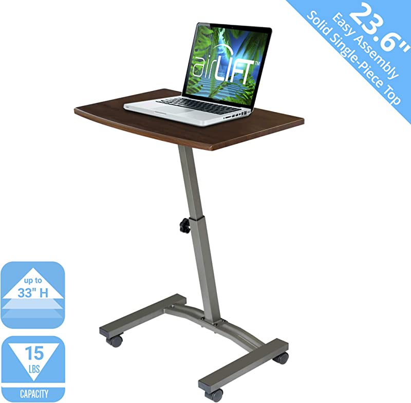Seville Classics WEB162 Solid Top Height Adjustable Mobile Laptop Desk Cart 23 6 W X 16 D X 20 5 To 33 H Walnut