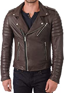 brandMe Mens Genuine Leather Pure Lambskin Biker Jacket MM489