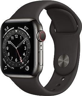 AppleWatch Series6 (GPS+Cellular) • 40mm rostfri stålboett grafit • sportband svart – standard