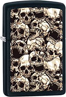Zippo Lighter: Pattern of Skulls - Black Matte 80844