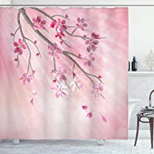 Ambesonne Nature Shower Curtain, Illustration of Spring Tree Branch with Blossoms Sun Beams on Blurred Background, Cloth Fabric Bathroom Decor Set with Hooks, 75 Long, Pink Fuchsia