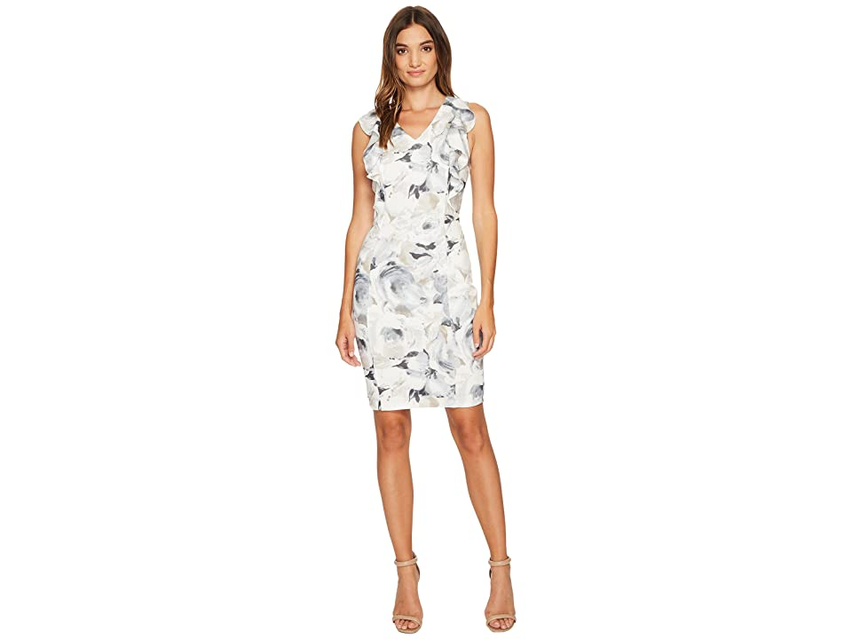 Calvin Klein Printed V-Neck Ruffle Dress (Latte Multi) Women