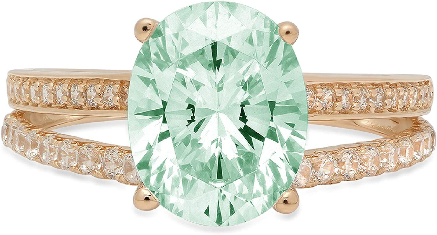 Inexpensive 3.17 ct Oval Cut Solitaire with Accent Stunning Online limited product shank Genu split