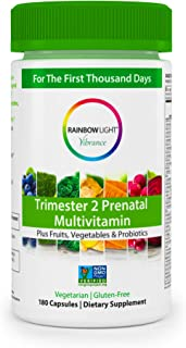 Rainbow Light Vibrance Trimester 2 Prenatal Multivitamin,Dietary Supplement Made with Fruits, Vegetables & Probiotics, Supports Healthy Immunity & Energy,180 Count Capsules