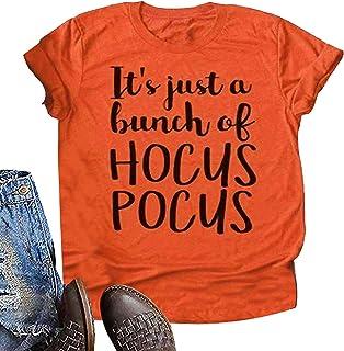HRIUYI Halloween Shirts for Women Plus Size Hocus Pocus Sanderson Sisters T Shirt Women Short Sleeve Top Tees