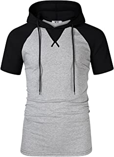 Kuulee Men Casual Slim Fit Short Sleeve T-Shirt Contrast Color Raglan Shirts