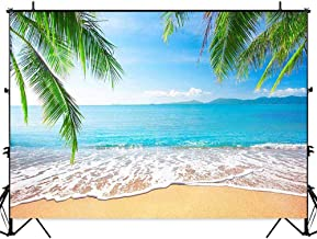 Allenjoy Tropical Beach Background Palm Leaves Ocean Island Seaside Scene 7x5ft Summer Wedding Photography Backdrop Baby Birthday Bridal Shower Party Decoration Banner Photo Booth Props