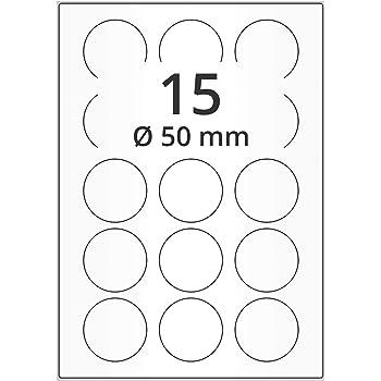 200 Blatt A4 Runde Aufkleber Etiketten Selbstklebend Bedruckbar 12 St/ück pro Blatt 60mm