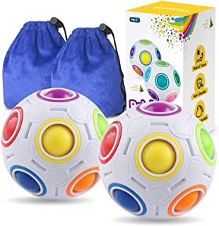 Coogam Rainbow Puzzle Ball Pack with Pouch Color-Matching Game Fidget Toy Stress Reliever Magic Ball Brain Teaser for Kids...
