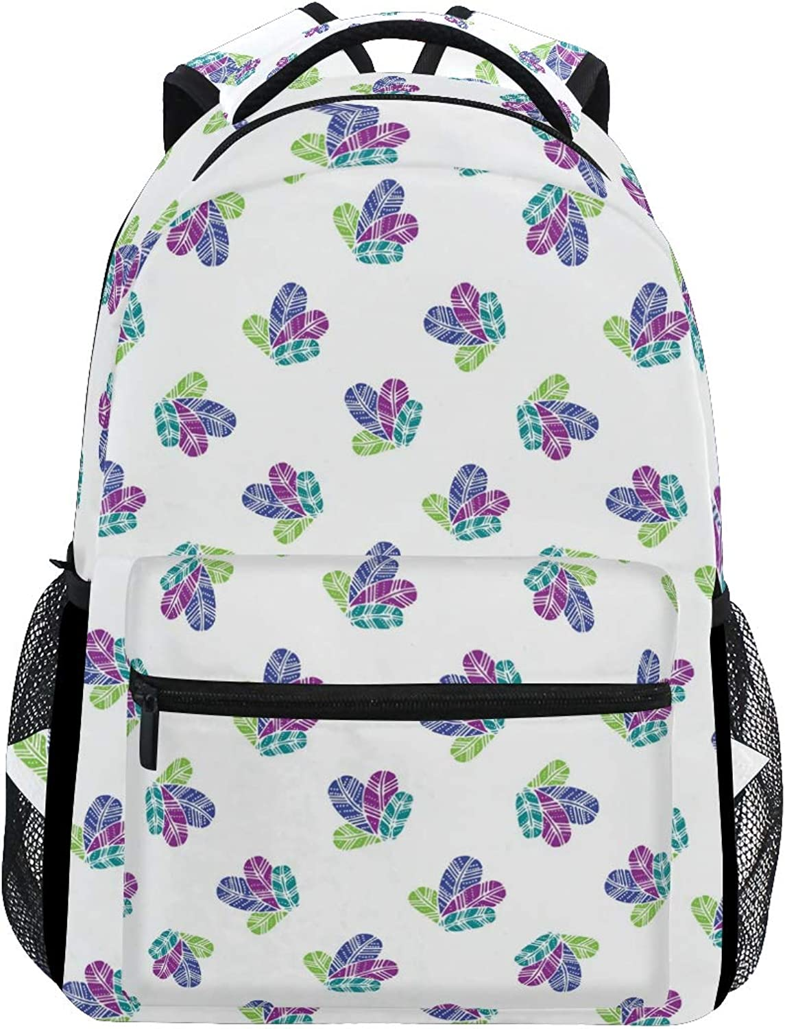 Bunch of colorfull Feathers Pattern Large Backpack Travel Outdoor Sports Laptop Backpack for Women & Men College School Water Resistant