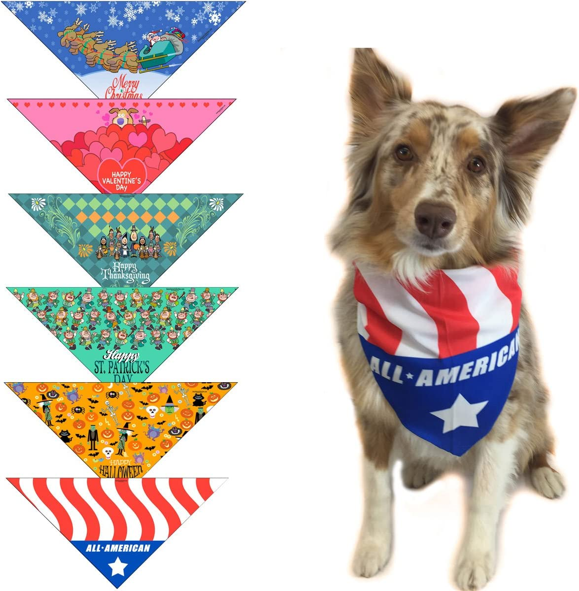 6 pc Holiday Dog Bandana Med to - Large of Christma specialty shop Dogs Set Attention brand