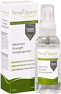 Perspi Guard Stops Problem Sweat and Odor, Maximum Strength Antiperspirant Spray, for Underarms, Hands and Feet, 50 mL (1 Pack)