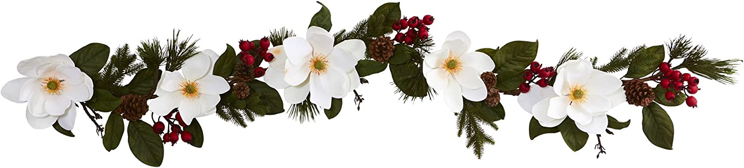 Nearly Natural 6' Magnolia, Pine and Berries Artificial Garland, White