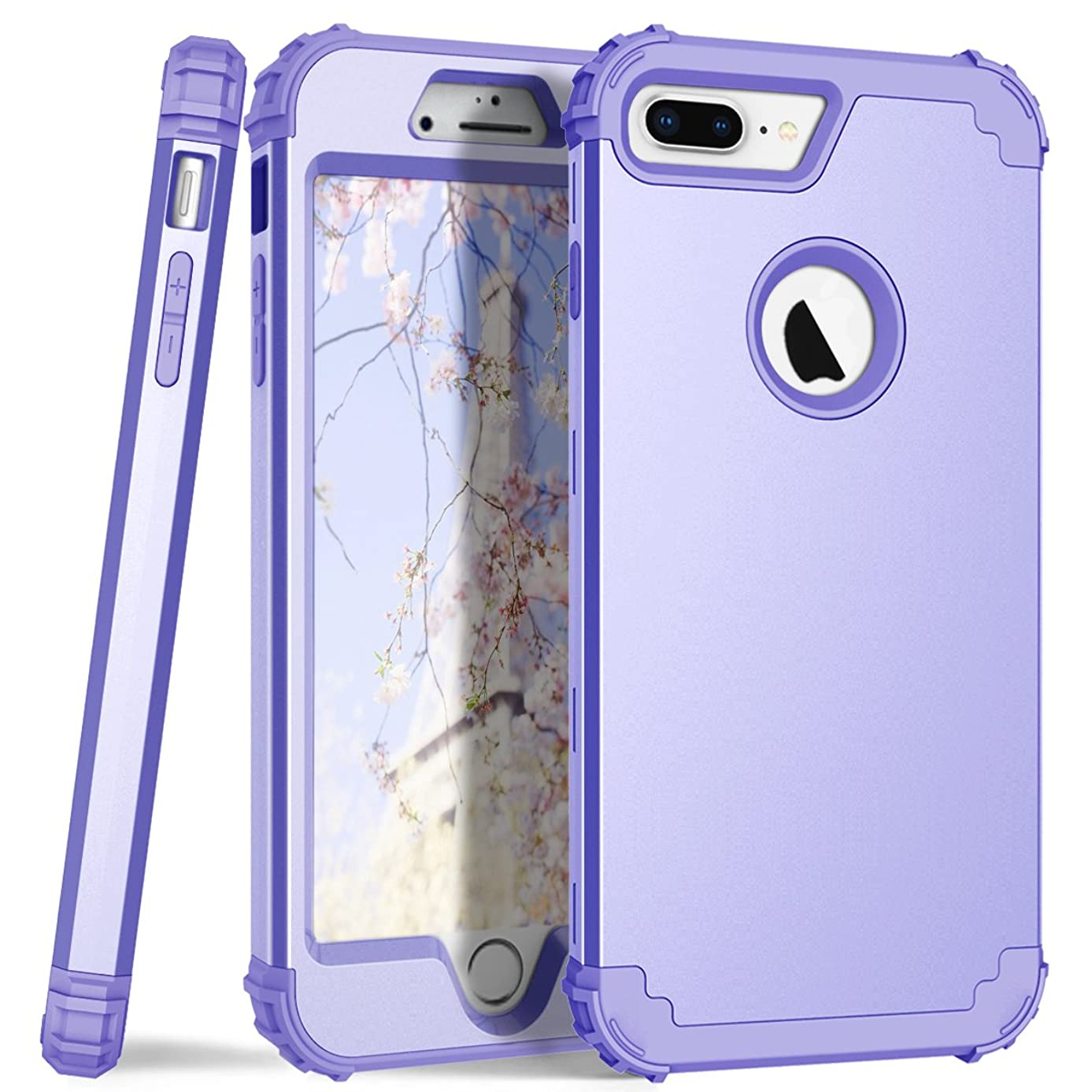iPhone 8 Plus Case, Dooge 3in1 Hybrid Impact Heavy Duty Armor Defender Full-Body Shockproof Anti Slip Protective Cover with Silicone&Hard Solid PC Bumper for Apple iPhone 8 Plus Lavender