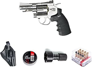 ASG ASG18101Kit-B Dan Wesson Revolver Pellet Air Gun with Holster/Cartridges/Extra BBS/& Speed Loader, Silver, 2.5