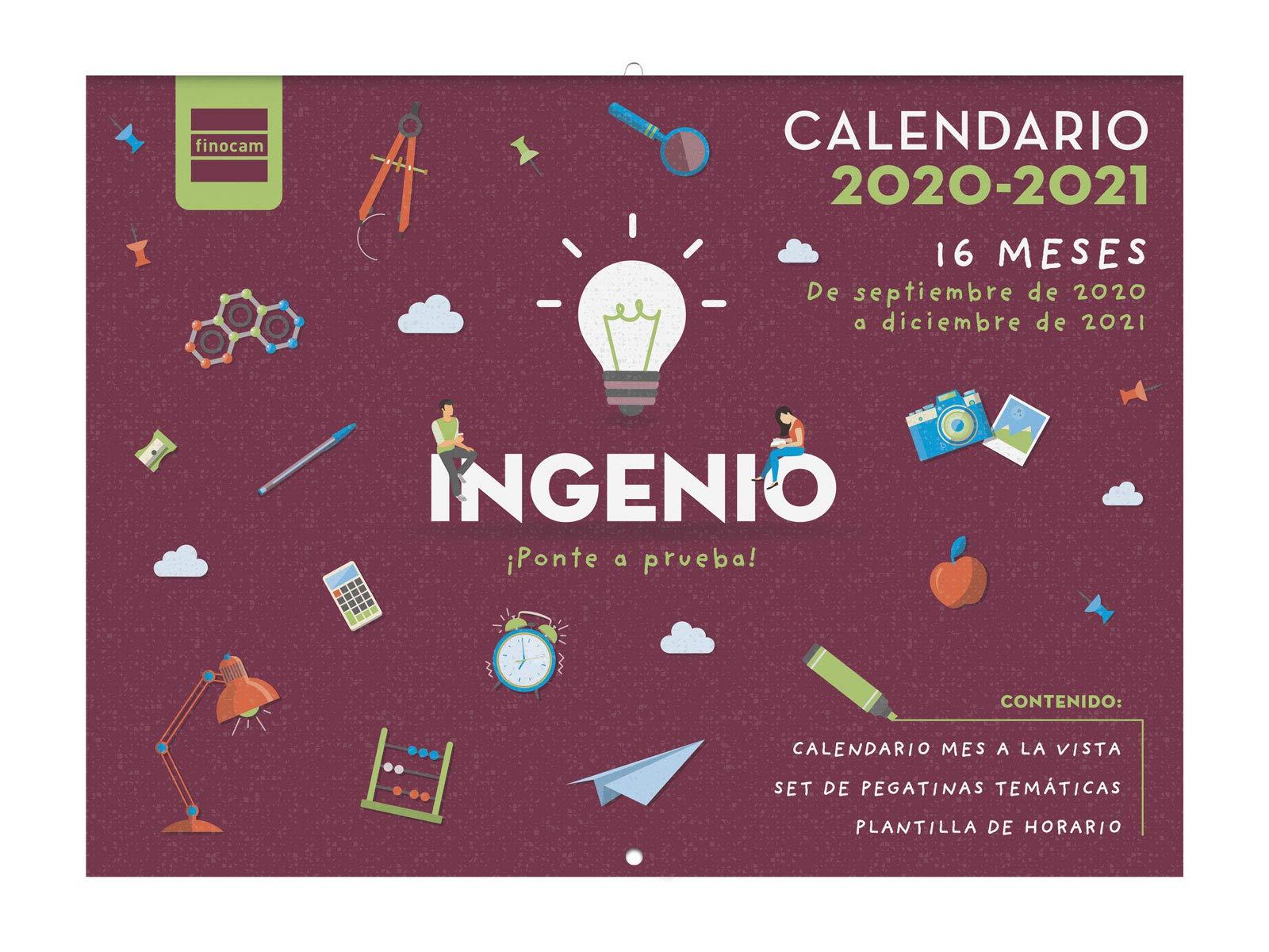 Finocam - Calendario de Pared 16 Meses 2020-2021 308x225 Mes Vista Ingenio Español: Amazon.es: Oficina y papelería