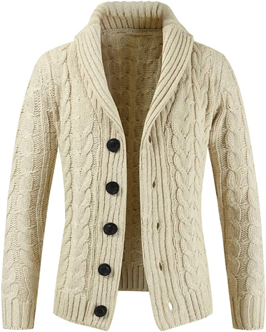 XLDD Mens Knit Cardigan Lightweight Warm Knitwear Button Knitted Cardigan Sweater Comfortable Knitted Jacket Classic Design Cables Rib Sweater Shawl Collar Cardigan