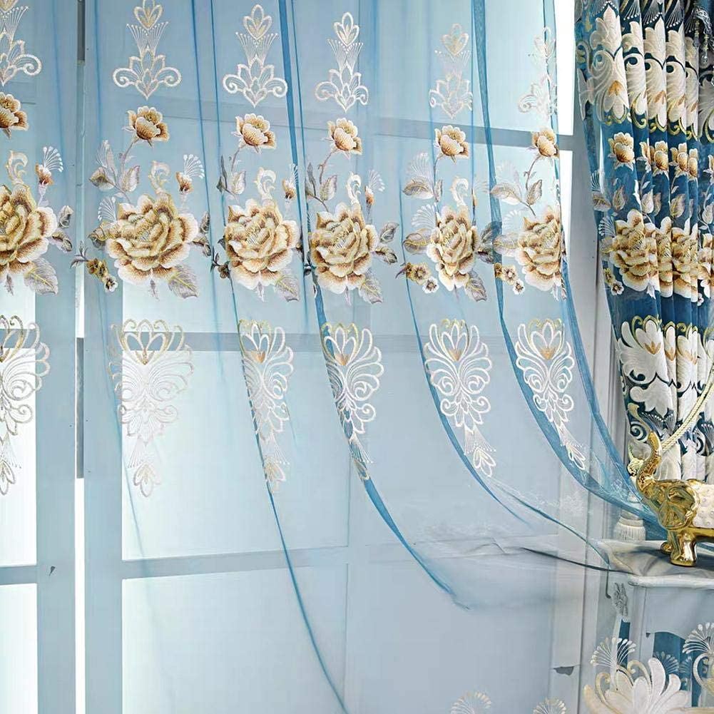 Gxi Blue Sheer Curtains Max 41% OFF Rod Kansas City Mall Pocket Room for Living Panels Voile