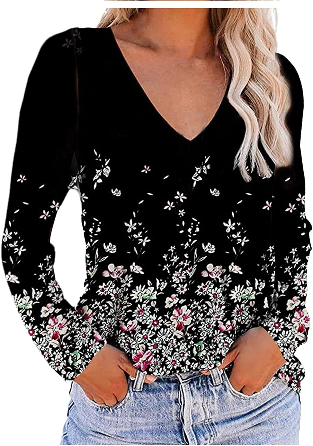 Womens Summer Tops Plus Size, Plus Size Short Sleeve V Neck Tshirts Summer Graphic Tee Blouse