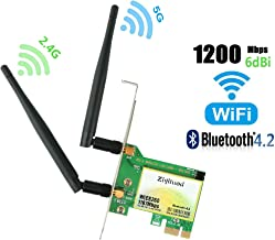 Ziyituod PCIe WiFi Card, AC1200Mbps Wireless Card, Dual-Band 1167Mbps(5Ghz-867Mbps/2.4Ghz-300Mbps) Network Card with Bluetooth 4.2 for Desktop PC, Supports Windows 10/8/7(WIE8260)