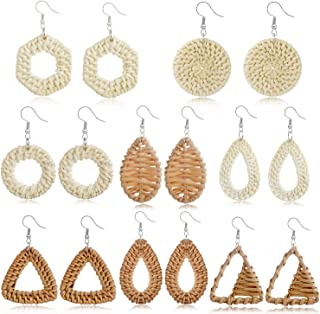 TAMHOO Statement Big Wicker Rattan Earrings Handmade Straw Hoops Lightweight Woven Earring Bohemia Weave Raffia Braid Drop Dangle Earrings Set Vacation Gift for Women Teens Girls