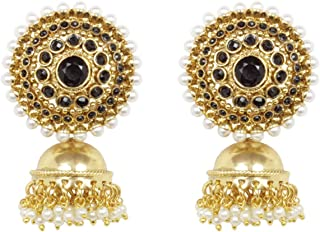 Ratna Indian Bollywood Gold Tone Traditional Black Stone Jhumki Jhumka Earrings jewelry