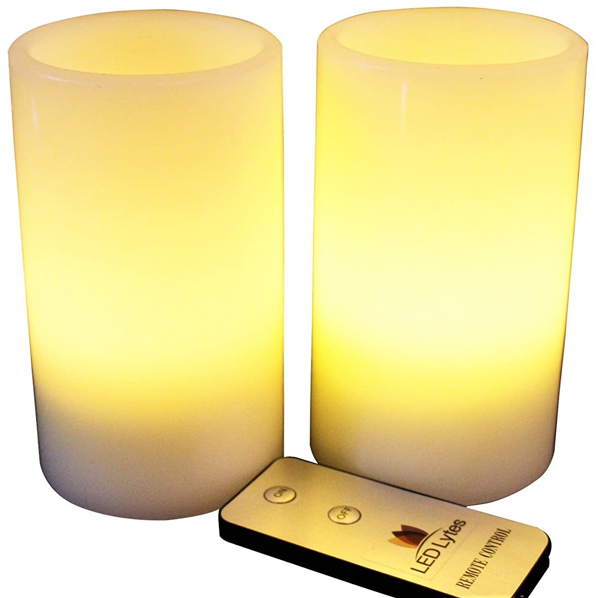 LED Lytes Flameless Candles, 2 Ivory Wax and Pale Yellow Flame Pillars Battery Operated with Remote for Parties, Wedding