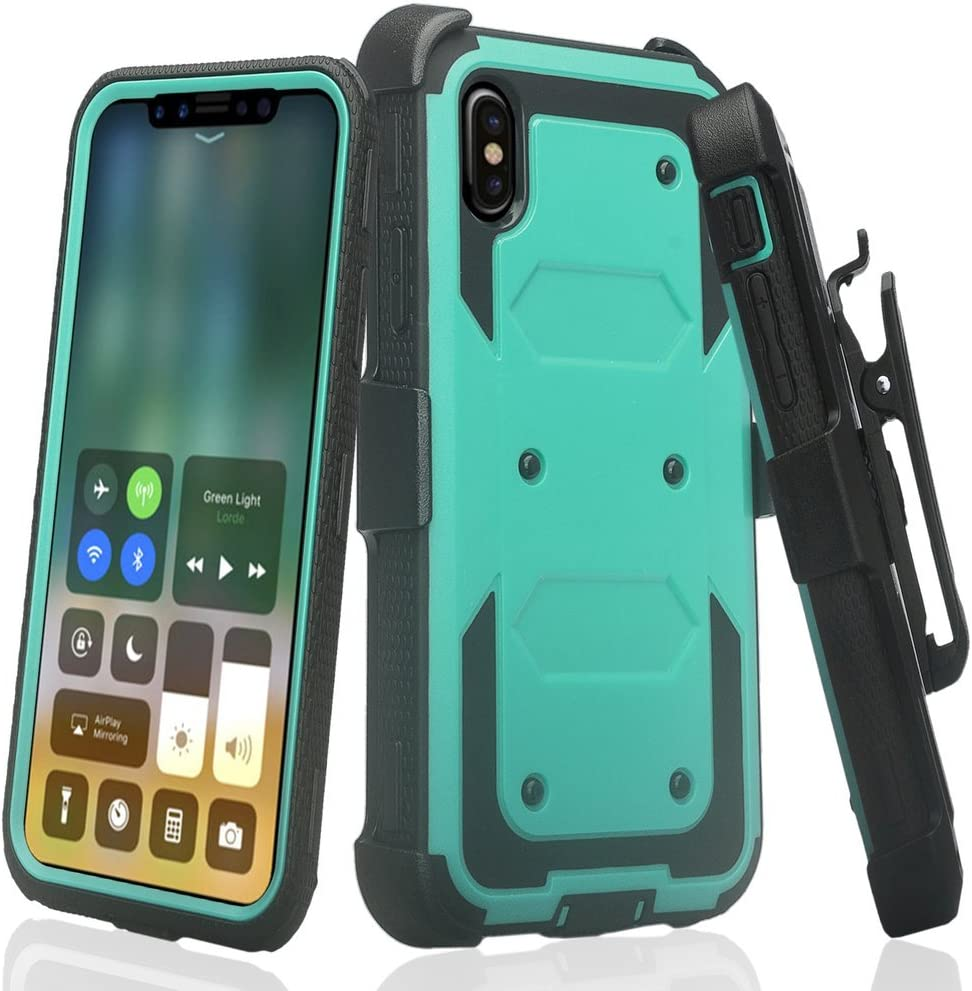 GW Case for Galaxy A01 Belt Clip Holster Kickstand Shock Proof Phone Case [Built in Screen Protector] Compatible for Samsung Galaxy A01/A015 - Teal