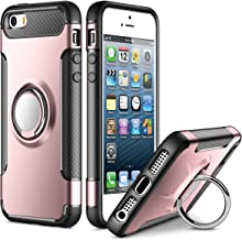 SAMONPOW Kickstand Cover for iPhone 5 Case iPhone SE Case iPhone 5s Case Slim Fit Hybrid Armor Shock Absorption Drop Protection Cover with Ring Holder Case for iPhone 5 5s SE Rose Gold
