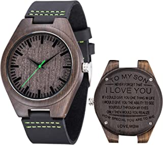 Engraved Watch for Men,Natural Personalized Black Sandalwood Wood Watches