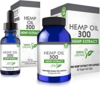 Hemp Oil Combo Pack for Pain Relief, Reduce Stress, Anti-Anxiety, Natural Anti Inflammatory, Rich in MCT Fatty Acids, Herbal Sleep Supplement - Grown and Made in USA - 30 Cap & 15ML Dropper