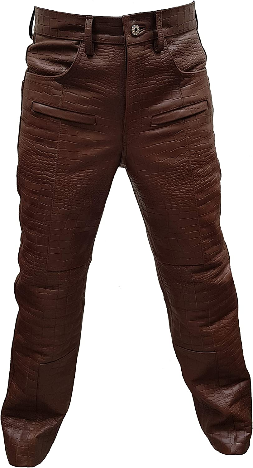Mens Real Inventory cleanup selling sale Regular store Brown Alligator Crocodile Print Style 501 Jean Leather