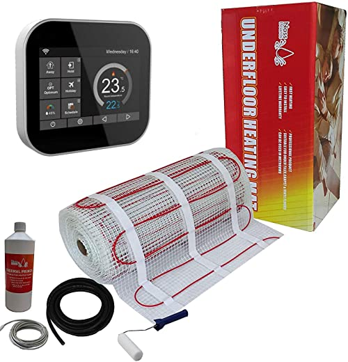 Nassboards Premium Pro – Elektrischer Fußbode Heizset Fußbodenheizung 150w – 8m2 – Schwarzer Smart Thermostat Wifi