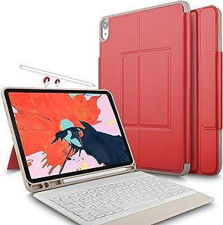 Luibor Apple iPad Pro 12.9 2018 Funda de Teclado Funda de Soporte Frontal con Teclado Desmontable para Apple iPad Pro 12.9 2018 Tableta (Rojo)
