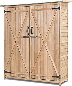 Safstar Outdoor Storage Shed, Wooden Storage Cabinet for Garden Lawn Backyard