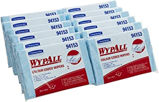 WypAll 94153 WypAll Blue Colour Coded Heavy Duty Cloths, 20 Wipers/Pack, Case of 12 Packs, Blue 3.972 kilograms
