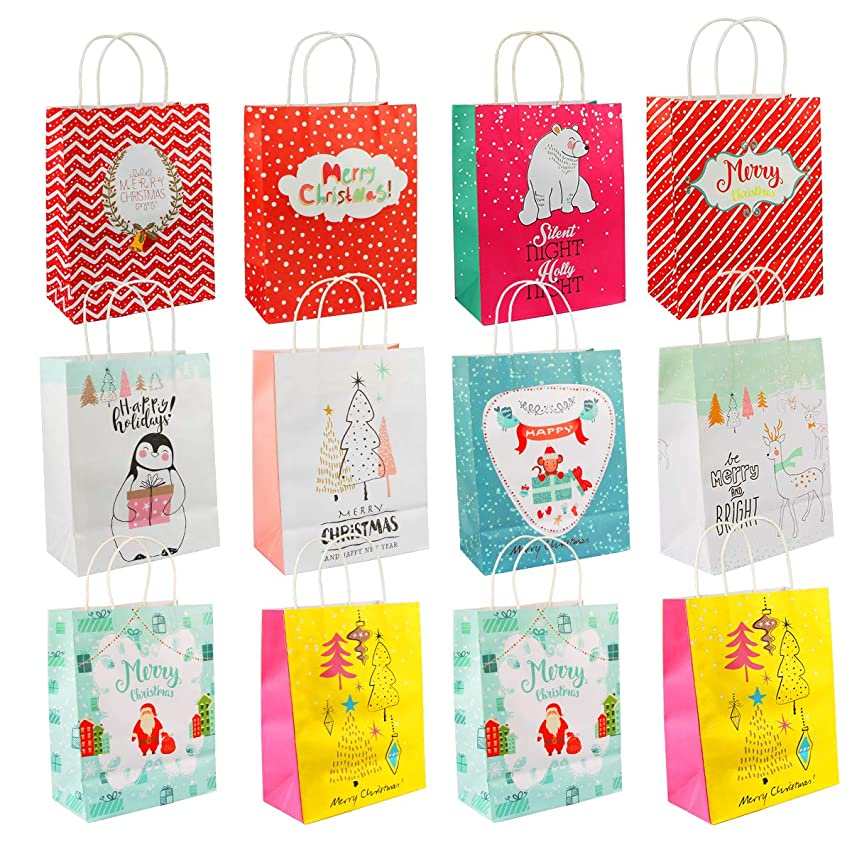 Christmas Gift Bags, Aiduy 12 Assorted Kraft Paper Bags Bulk Medium Holiday Bags Party Bags Present Paper Gift Bags with Handle for Wrapping, Shopping, Carry, Retail and Merchandise