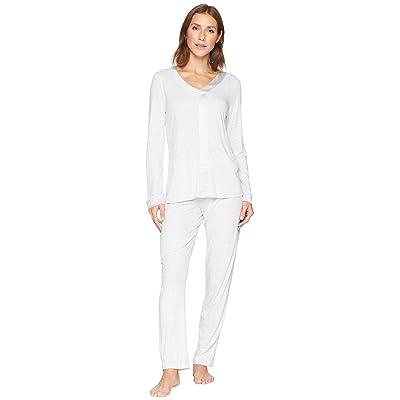 Hanro Elara Long Sleeve Pajama Set (Soft Grey Melange) Women