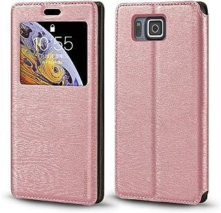جراب Samsung Galaxy Alpha G850F، جراب جلد محبب خشبي مع حامل بطاقات ونافذة، غطاء قلاب مغناطيسي لهاتف Samsung Galaxy Alpha G...