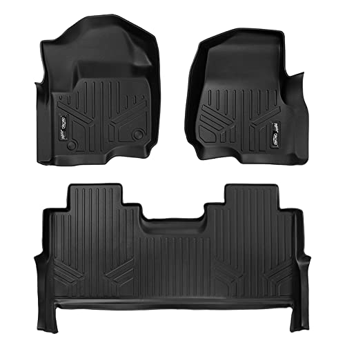 SMARTLINER Floor Mats 2 Row Liner Set Black for 2017-2018 Ford F-250