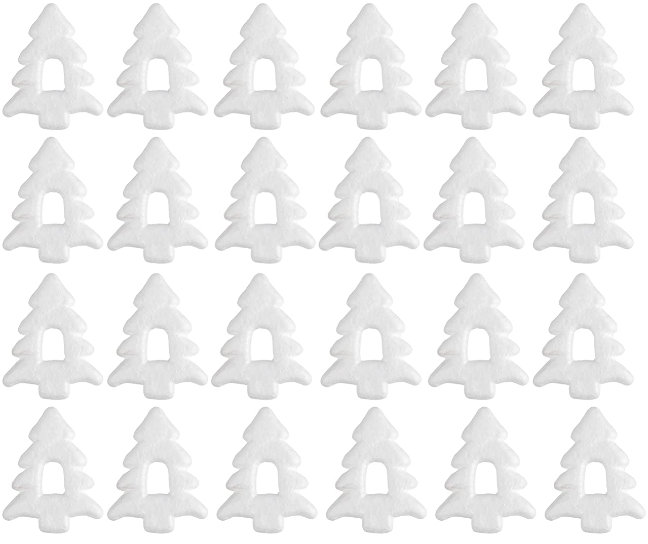 Craft Foam - 24-Pack Christmas Tree Shaped Foam for DIY Crafts Project, Kids Art Class, Winter Holiday Ornament Decorations, White Polystyrene Foam, Mini Hollow Out Design, 2.8 x 3.6 x 0.5 inches