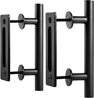 EaseLife 10 Inch Sliding Barn Door Handle,Rustic Two-Side Pull and Flush Set,Flat Back-Plate Design,Ultra Sturdy,Black,Round,2 Pack